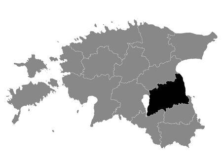 Black Location Map of Estonian Tartu County within Grey Map of Estonia