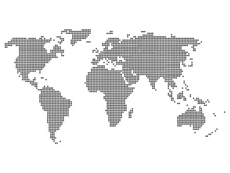 Vector Illustration of a Black Dotted Atlas Map of the World