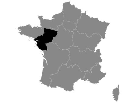 Black Location Map of French Loire Lands Region within Grey Map of France Illustration