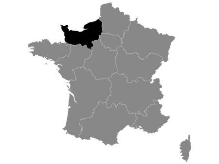 Black Location Map of French Normandy Region within Grey Map of France Иллюстрация