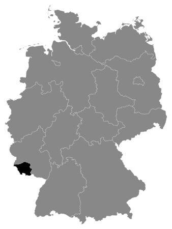 Black Location Map of German Federal State of Saarland within Grey Map of Germany Иллюстрация