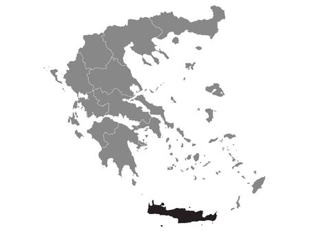 Black Location Map of Greek Region of Crete within Grey Map of Greece