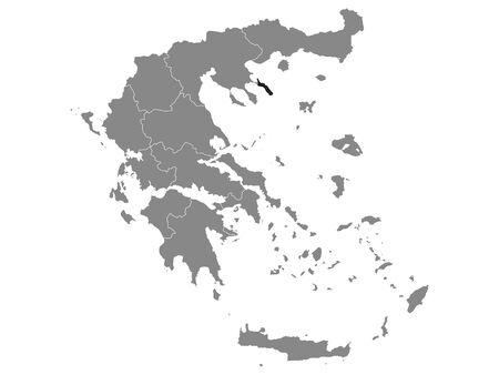 Black Location Map of Greek Autonomous State of Mount Athos within Grey Map of Greece Vettoriali