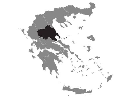 Black Location Map of Greek Region of Thessaly within Grey Map of Greece