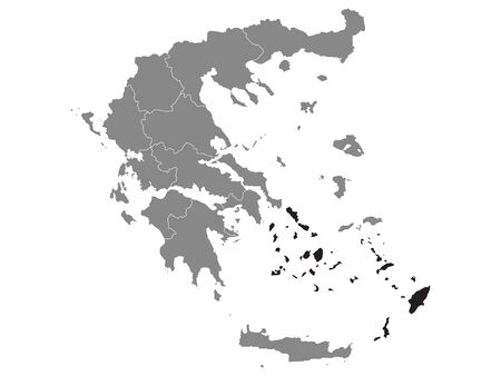 Black Location Map of Greek Region of South Aegean within Grey Map of Greece