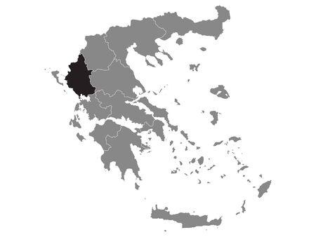 Black Location Map of Greek Region of Epirus within Grey Map of Greece Vettoriali