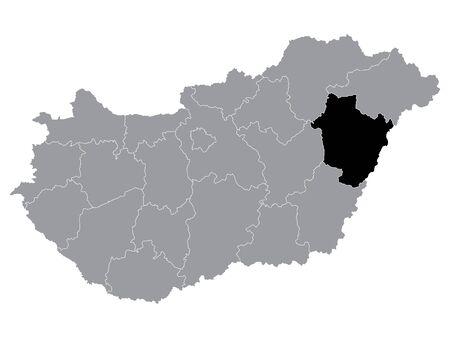 Black Location Map of Hungarian Region of Hajdu Bihar within Grey Map of Hungary
