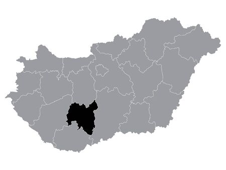 Black Location Map of Hungarian Region of Tolna within Grey Map of Hungary