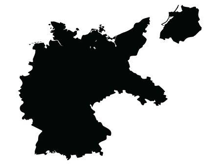 Black Flat Map of Weimar Republic (1918–1933) Illustration