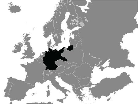 Black Flat Map of Weimar Republic (1918–1933) inside Gray Map of Europe