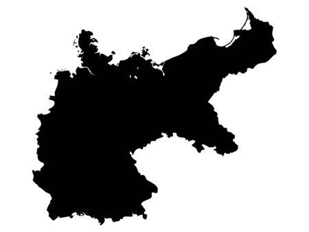 Black Flat Map of  German Empire (1871–1918)