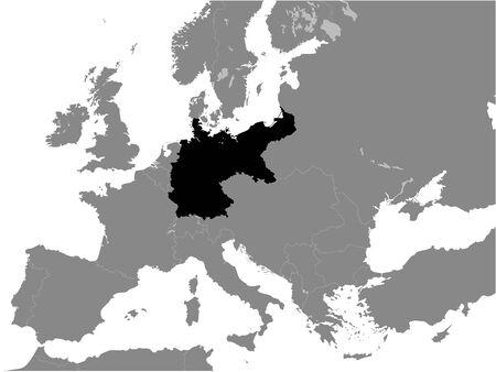 Black Flat Map of  German Empire (1871–1918) inside Gray Map of Europe Illustration