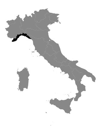 Black Location Map of Italian Region of Liguria within Grey Map of Italy 일러스트