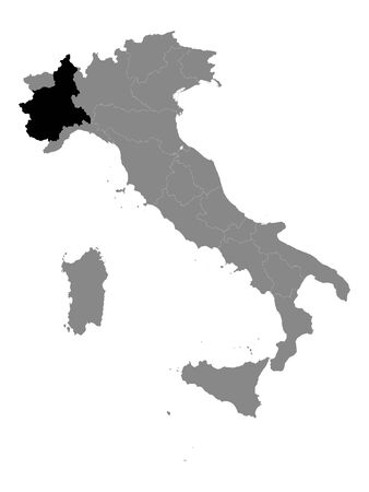 Black Location Map of Italian Region of Piedmont within Grey Map of Italy