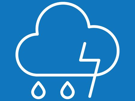 White Simple on Blue Background Flat Weather Forecast Icon for Thunderstorm
