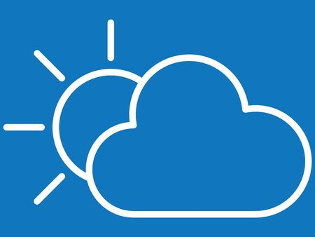 White Simple on Blue Background Flat Weather Forecast Icon for Sun with Cloud