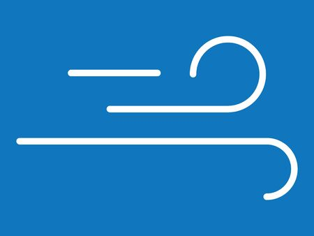 White Simple on Blue Background Flat Weather Forecast Icon for Windy