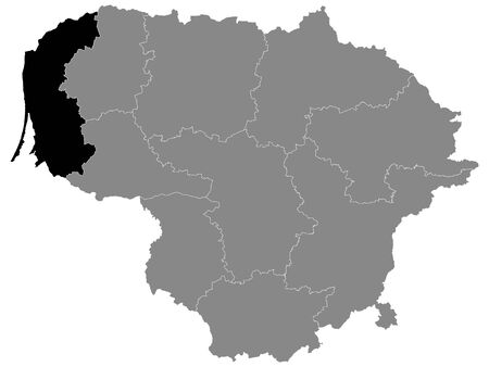 Black Location Map of Lithuanian County of Klaipeda within Grey Map of Lithuania