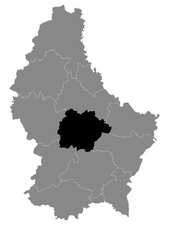 Black Location Map of Luxembourgian Canton of Mersch within Grey Map of Luxembourg