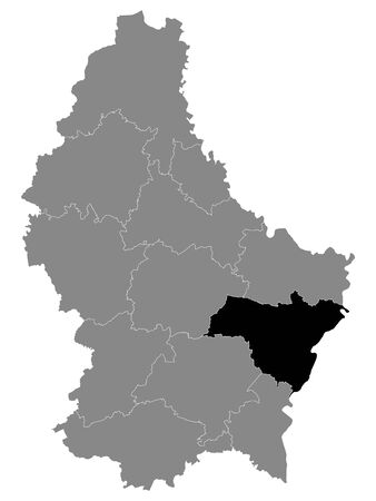 Black Location Map of Luxembourgian Canton of Grevenmacher within Grey Map of Luxembourg