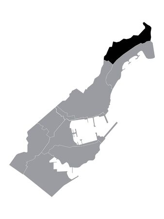 Black Location Map of Monegasque Ward of La Rousse within Grey Map of Monaco
