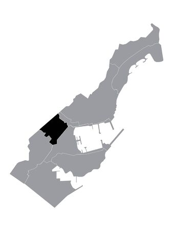 Black Location Map of Monegasque Ward of Les Moneghetti within Grey Map of Monaco 矢量图像