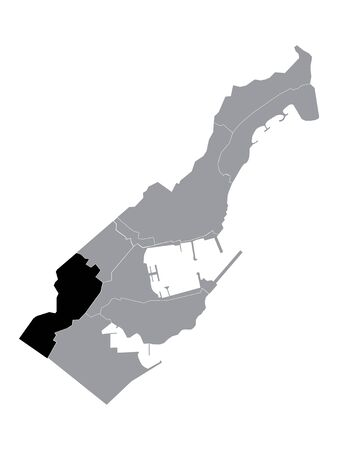 Black Location Map of Monegasque Ward of Jardin Exotique within Grey Map of Monaco