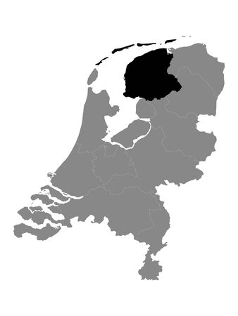 Black Location Map of the Dutch Province of Friesland within Grey Map of Netherlands