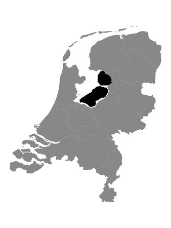 Black Location Map of the Dutch Province of Flevoland within Grey Map of Netherlands