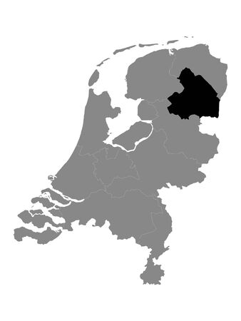 Black Location Map of the Dutch Province of Drenthe within Grey Map of Netherlands