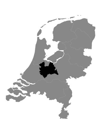 Black Location Map of the Dutch Province of Utrecht within Grey Map of Netherlands