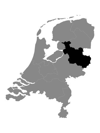 Black Location Map of the Dutch Province of Overijssel within Grey Map of Netherlands