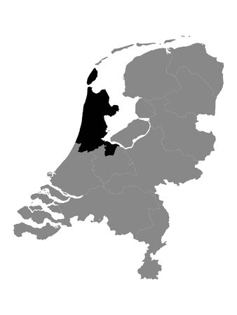 Black Location Map of the Dutch Province of North Holland within Grey Map of Netherlands