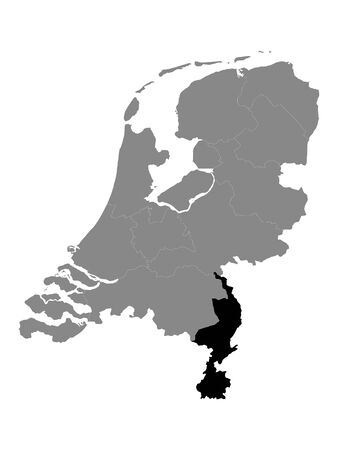 Black Location Map of the Dutch Province of Limburg within Grey Map of Netherlands