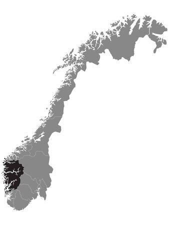 Black Location Map of Norwegian Vestland County within Grey Map of Norway Vektorgrafik