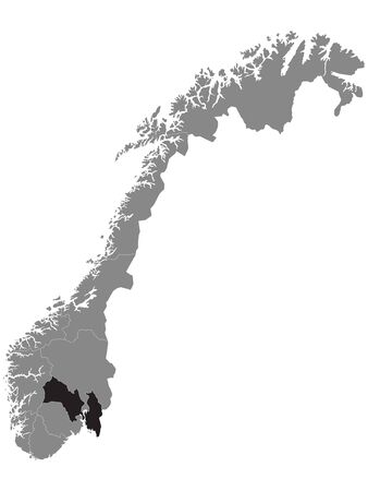Black Location Map of Norwegian Viken County within Grey Map of Norway
