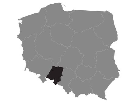 Black Location Map of Polish Opole Province within Grey Map of Poland