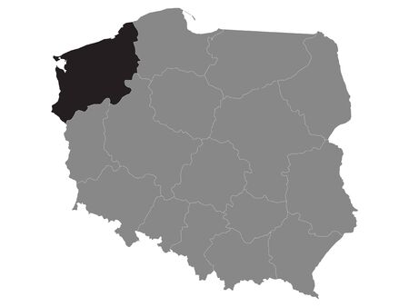 Black Location Map of Polish West Pomeranian Province within Grey Map of Poland