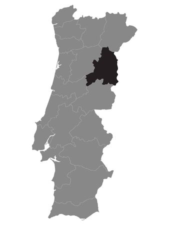 Black Location Map of Portuguese Guarda District within Grey Map of Portugal