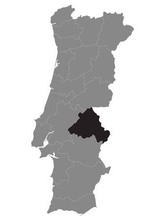 Black Location Map of Portuguese Portalegre District within Grey Map of Portugal Векторная Иллюстрация