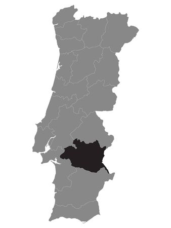 Black Location Map of Portuguese Evora District within Grey Map of Portugal 矢量图像