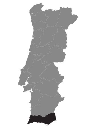 Black Location Map of Portuguese Faro District within Grey Map of Portugal 矢量图像