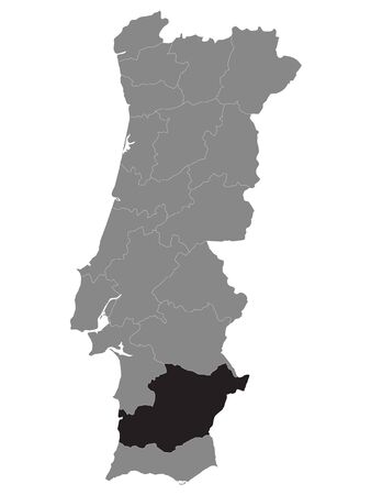 Black Location Map of Portuguese Beja District within Grey Map of Portugal