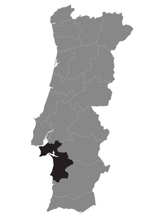 Black Location Map of Portuguese Setubal District within Grey Map of Portugal