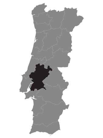 Black Location Map of Portuguese Santarem District within Grey Map of Portugal