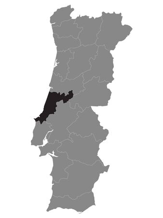 Black Location Map of Portuguese Leiria District within Grey Map of Portugal