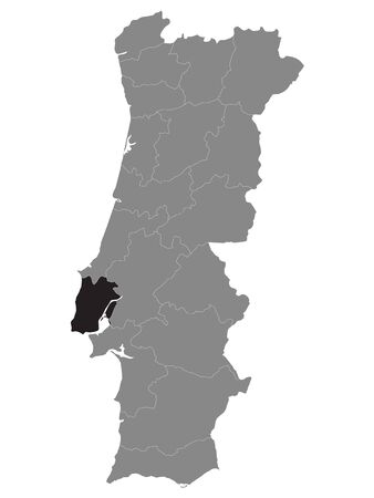 Black Location Map of Portuguese Lisbon District within Grey Map of Portugal
