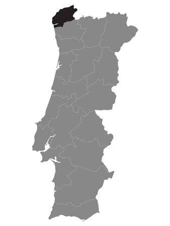 Black Location Map of Portuguese Viana do Castelo District within Grey Map of Portugal