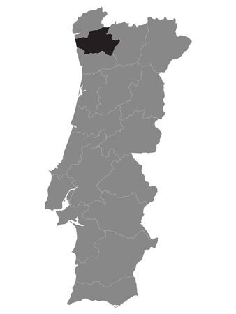 Black Location Map of Portuguese Braga District within Grey Map of Portugal