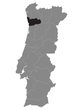 Black Location Map of Portuguese Porto District within Grey Map of Portugal